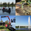 Montage of pictures of fountain construction at Hampton Court Palace by the Fountain Workshop