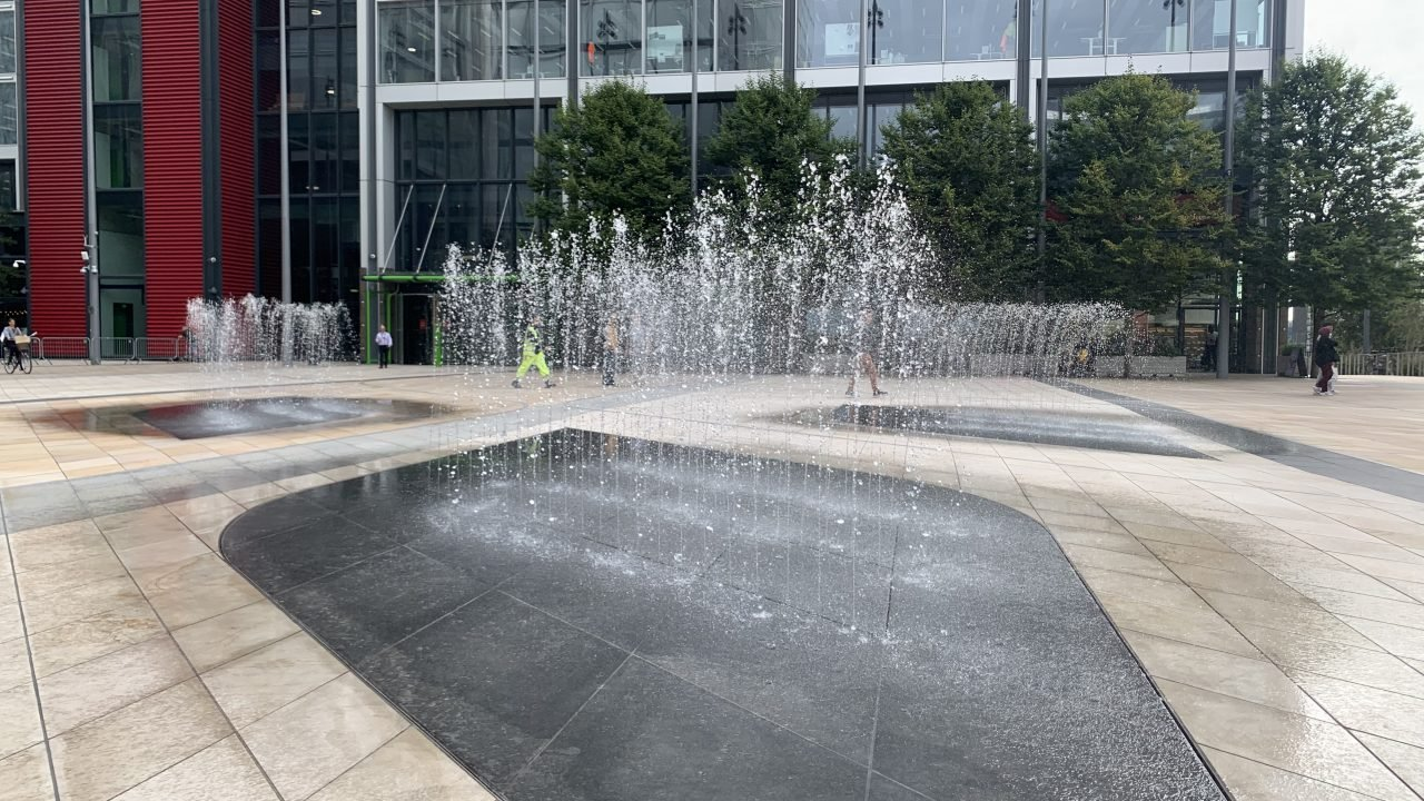 Water Feature at International Quarter by The Fountain Workshop