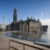 The mirror pool and fountains at Bradford City Park by the Fountain Workshop